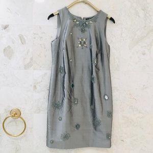 CARLISLE PER SE {10} Silver Silk Shift Dress Bead